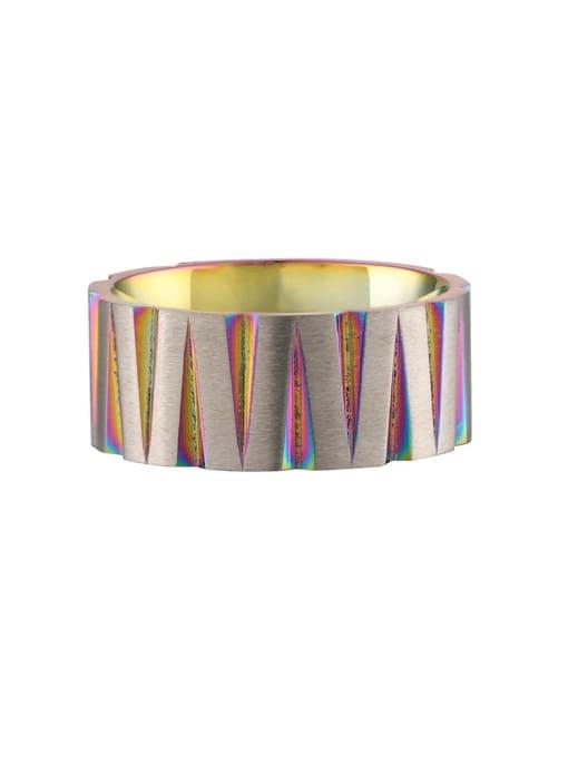 Color Titanium Steel Round Hip Hop Band Ring