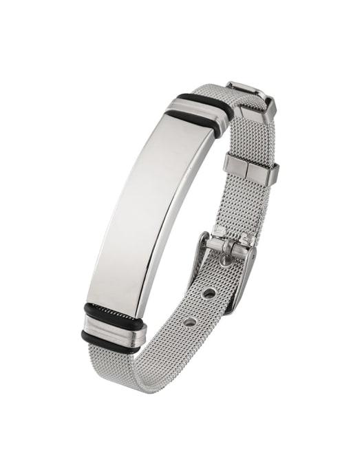 WOLF Titanium Steel Geometric Hip Hop Bracelet 1