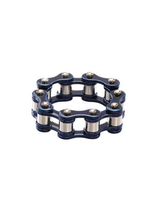 blue and white color Titanium Steel Irregular Vintage Band Ring