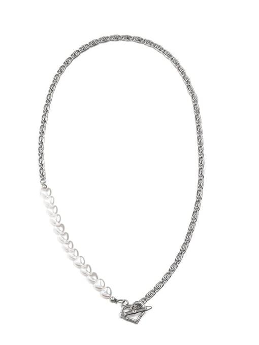 Steel color (55cm) Titanium Steel Imitation Pearl Geometric Hip Hop Necklace