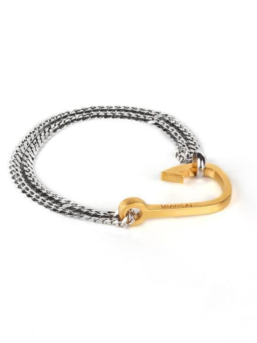 Golden fishhook steel chain Titanium Steel Irregular Hip Hop Link Bracelet