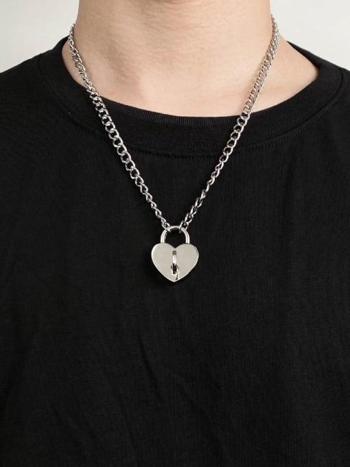 WOLF Titanium Steel Heart Hip Hop Necklace 1