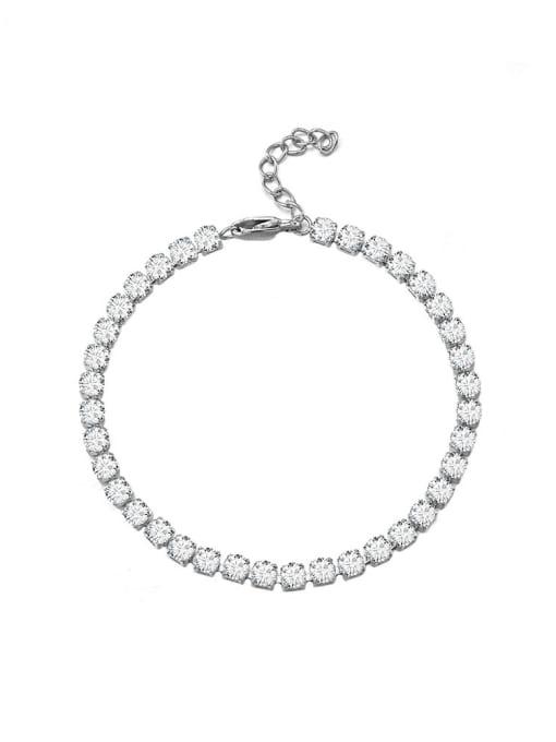 WOLF Titanium Steel Cubic Zirconia Geometric Minimalist Link Bracelet 0