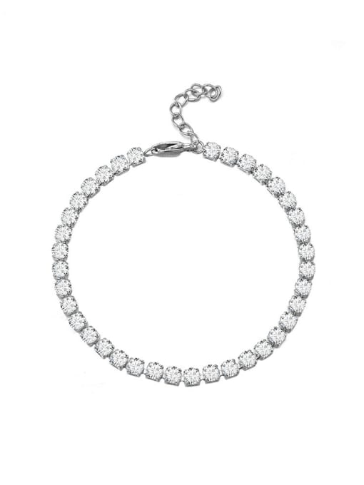WOLF Titanium Steel Cubic Zirconia Geometric Minimalist Link Bracelet