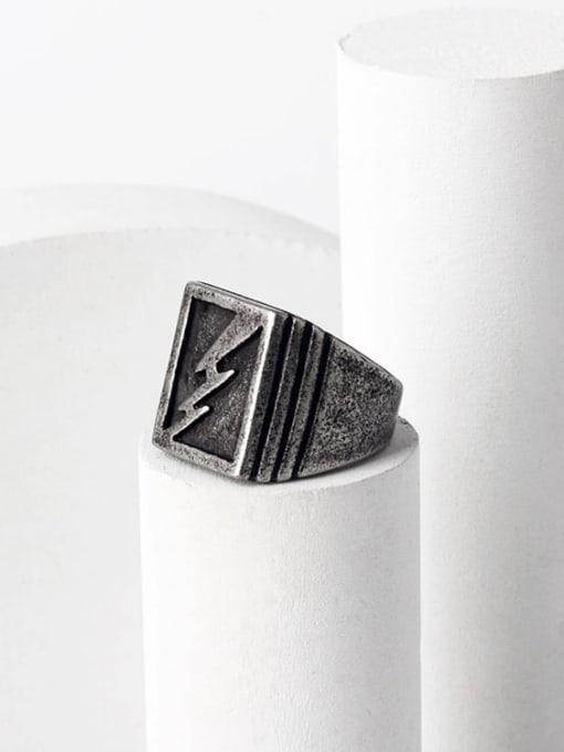 WOLF Titanium Steel Geometric Hip Hop Band Ring 0