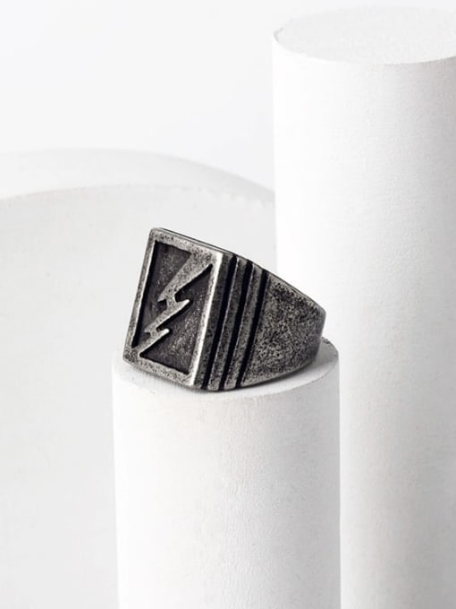 WOLF Titanium Steel Geometric Hip Hop Band Ring