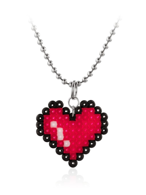WOLF Stainless steel Bead Heart Minimalist Necklace 1