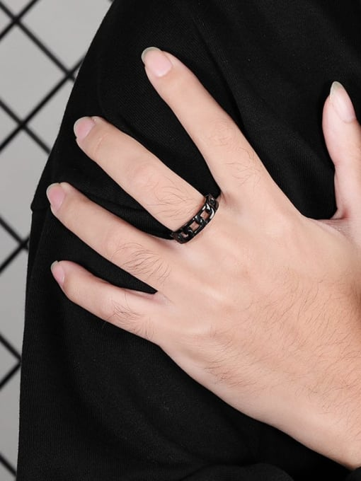 WOLF Titanium Steel  Hollow Chain Vintage Band Ring 2
