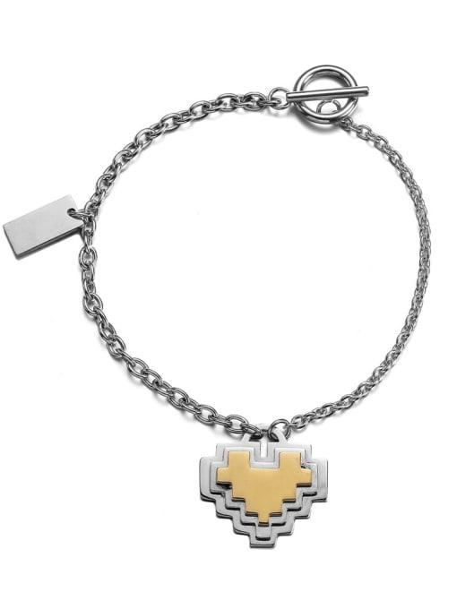 Steel color Titanium Steel Heart Hip Hop Link Bracelet