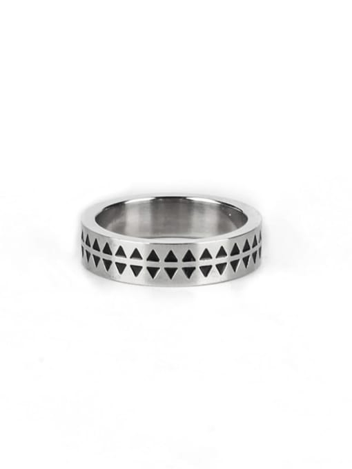 Steel color (size 6) Titanium Steel Enamel Round Vintage Band Ring