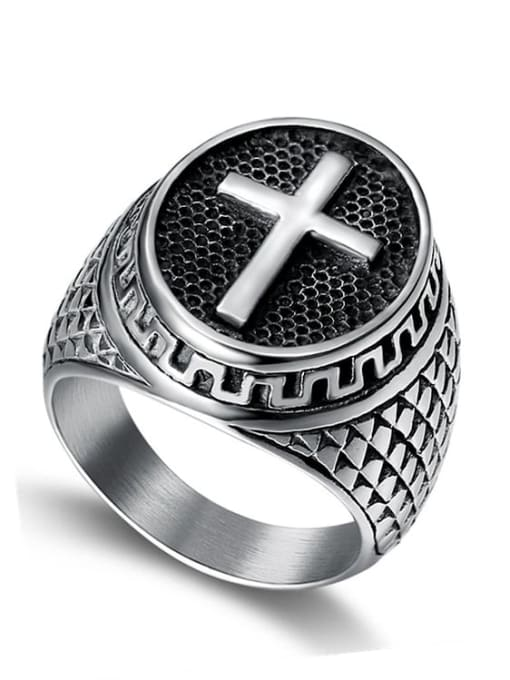 Steel color Titanium Steel Cross Hip Hop Band Ring