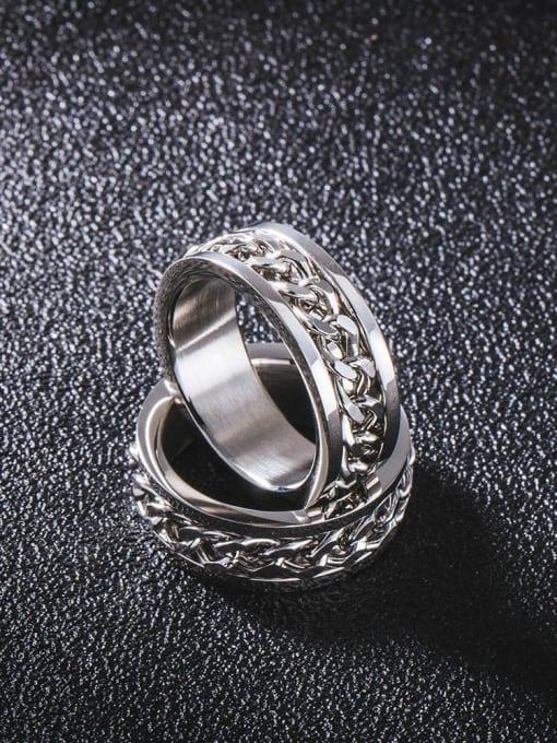 WOLF Titanium Steel Irregular Vintage Band Ring 2