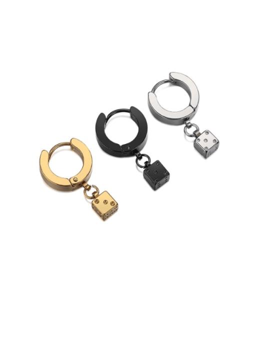 WOLF Titanium Steel Rhinestone Geometric Minimalist Huggie Earring( (Single) 0