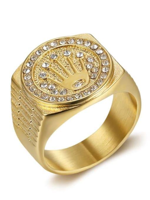 Gold Titanium Steel Rhinestone Crown Hip Hop Band Ring