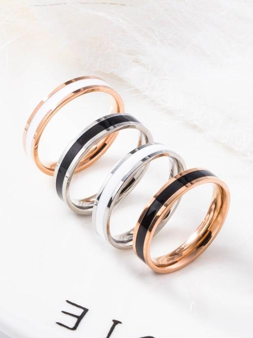 WOLF Titanium Steel Enamel Round Minimalist Band Ring 3