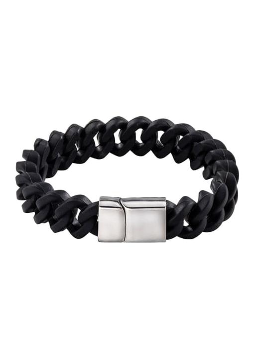Steel color Titanium Steel Geometric Vintage Link Bracelet