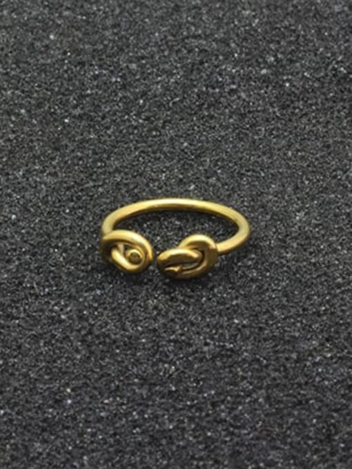 WOLF Titanium Steel Bowknot Vintage Band Ring 0