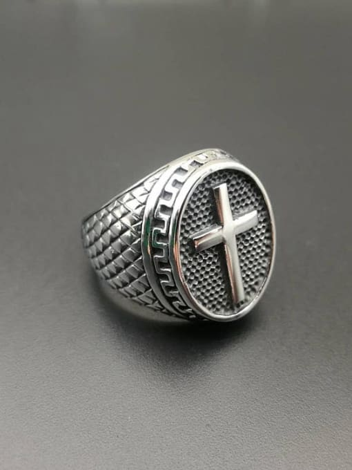 HI HOP Titanium Steel Cross Hip Hop Band Ring 1