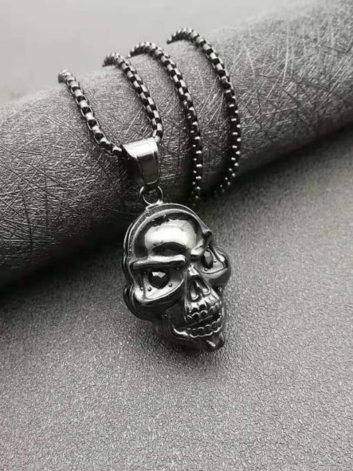 HI HOP Titanium Steel Skull Hip Hop Necklace 3
