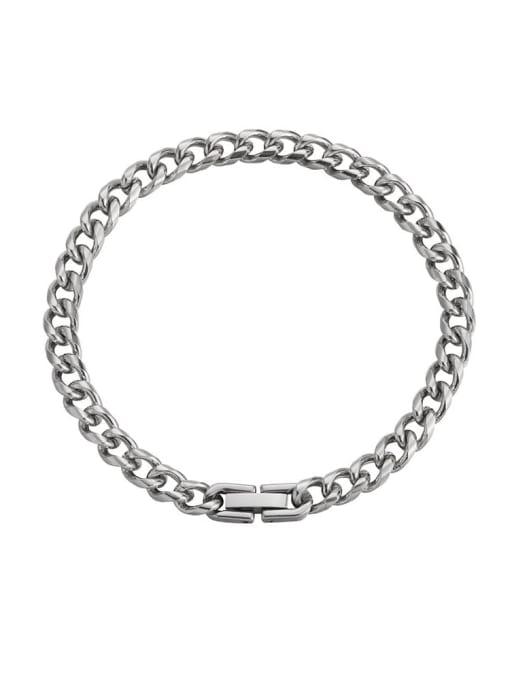 Steel color (6mm*18cm) Titanium Steel Geometric Hip Hop Link Bracelet
