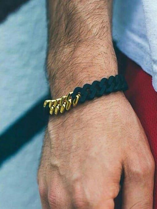 WOLF Titanium Steel Geometric Hip Hop Link Bracelet 1