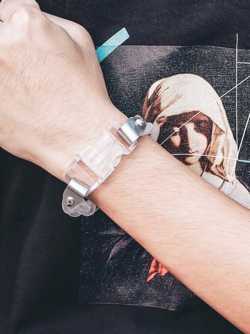 WOLF Titanium Steel Acrylic Geometric Hip Hop Link Bracelet 2