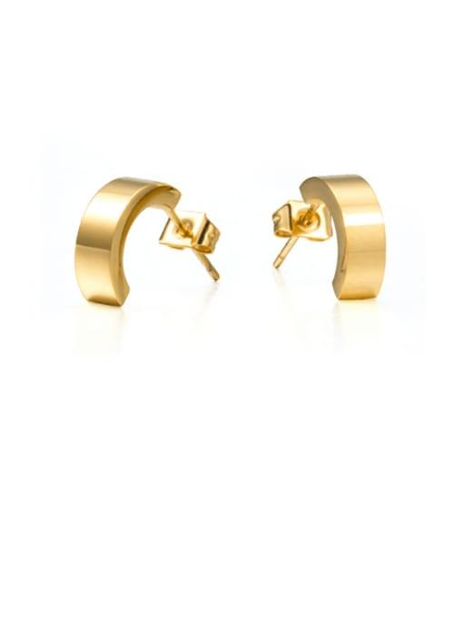 golden Titanium Steel Geometric Minimalist Stud Earring