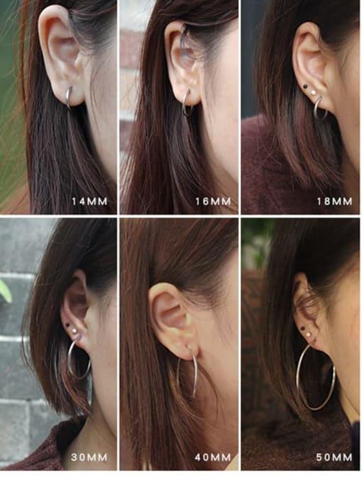 WOLF Titanium Steel Round Minimalist Huggie Earring 1