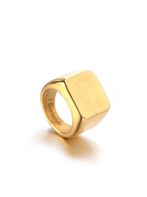 WOLF Titanium Steel Geometric Minimalist Band Ring 0