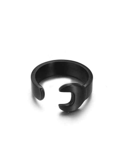 WOLF Titanium Steel Irregular Hip Hop Band Ring 4