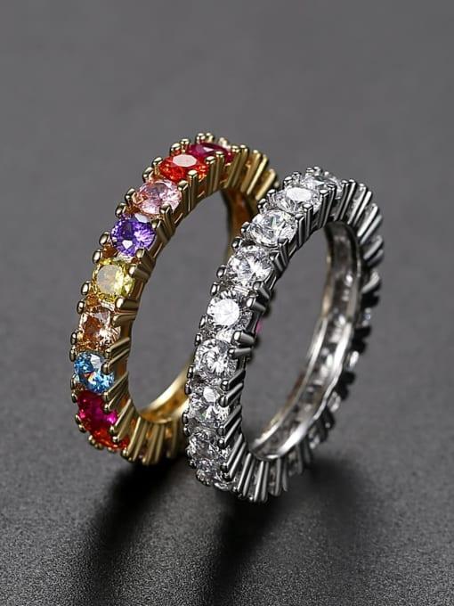 Teem Men Brass Cubic Zirconia Geometric Dainty Band Ring 1