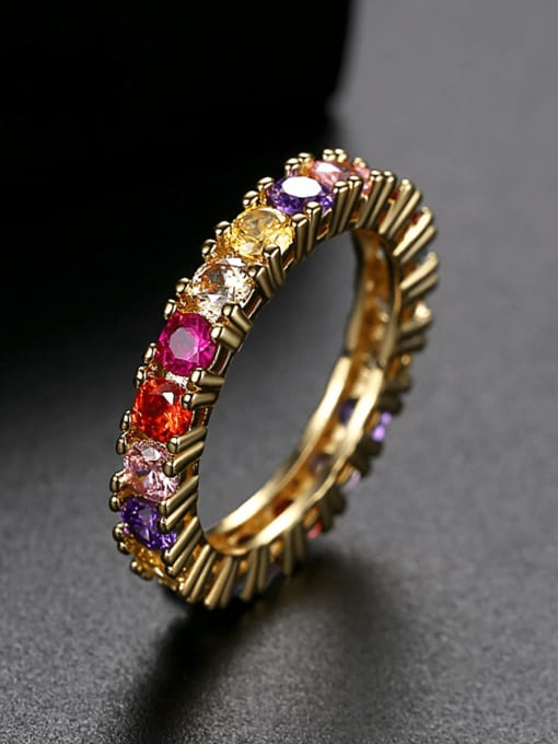 Teem Men Brass Cubic Zirconia Geometric Dainty Band Ring