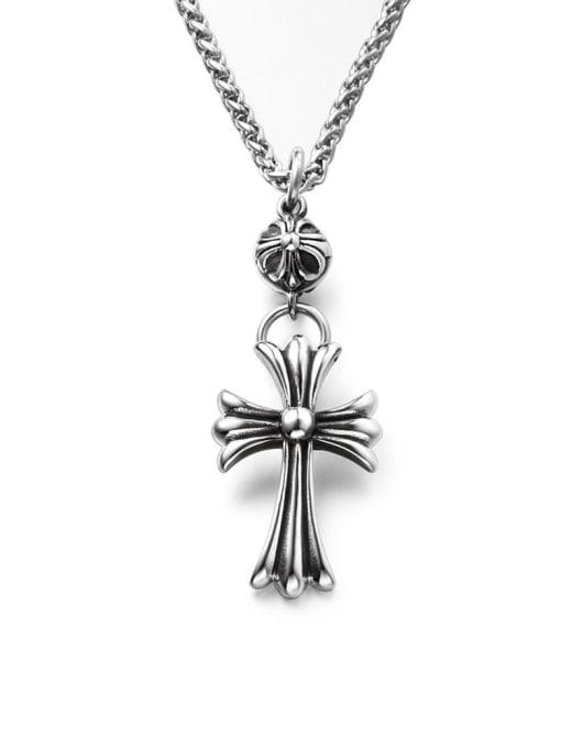 WOLF Titanium Steel Cross Hip Hop Necklace 3