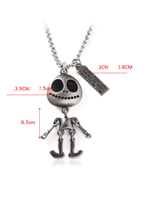 WOLF Titanium Steel Skull Hip Hop Long Strand Necklace 3