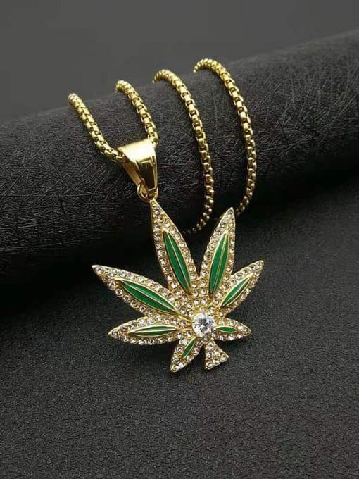 Gold Titanium Steel Cubic Zirconia Enamel Leaf Vintage Necklace