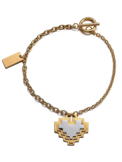 WOLF Titanium Steel Heart Hip Hop Link Bracelet 3