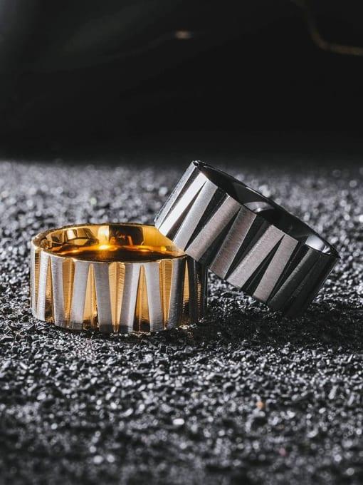 WOLF Titanium Steel Round Hip Hop Band Ring 1
