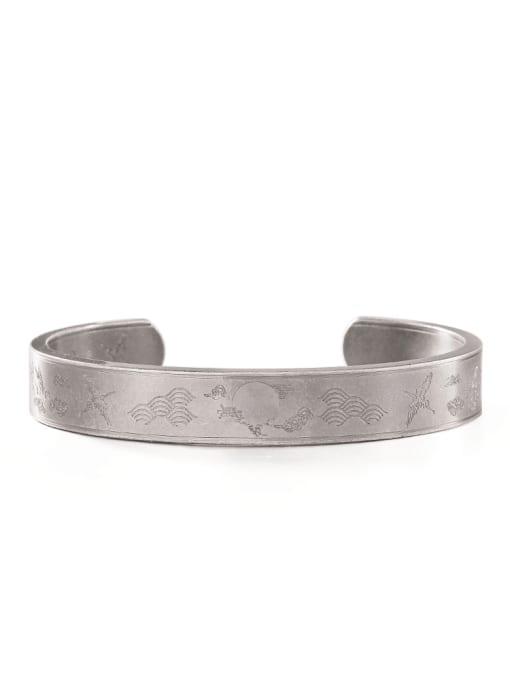 WOLF Titanium Steel Irregular Hip Hop Cuff Bangle 0