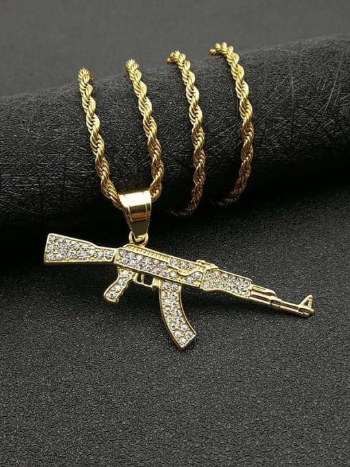 Gold+Chain 3mm*61mm Titanium Steel Rhinestone Irregular Vintage Rifle Necklace