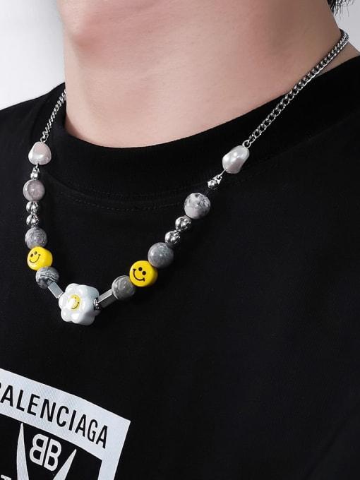 WOLF Titanium Steel  Geometric Hip Hop Sun Flower Smiley Necklace 0