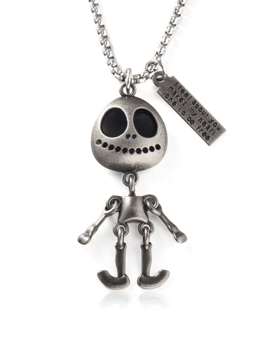 WOLF Titanium Steel Skull Hip Hop Long Strand Necklace 0