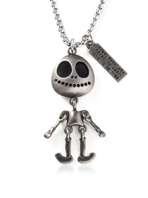 WOLF Titanium Steel Skull Hip Hop Long Strand Necklace