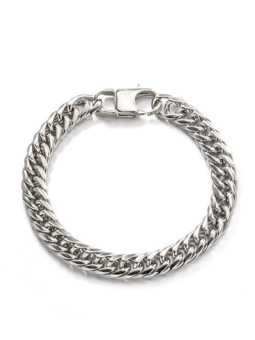 Steel color (8mm*19cm) Titanium Steel Irregular Hip Hop Link Bracelet