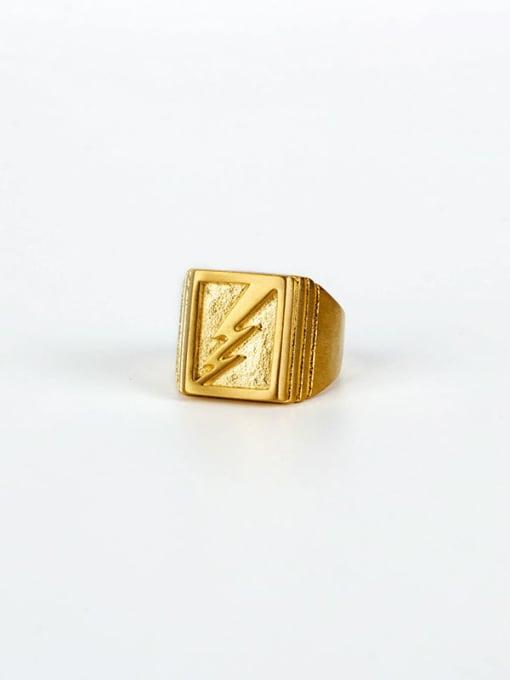 Gold (size 8) Titanium Steel Geometric Hip Hop Band Ring