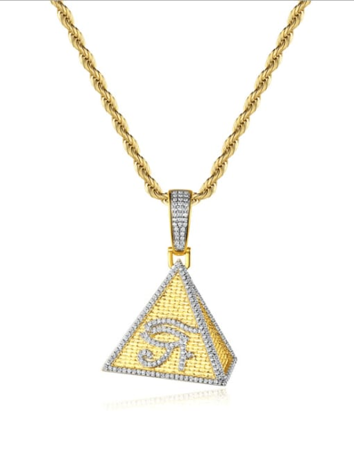 Teem Men Brass Cubic Zirconia Triangle Hip Hop Necklace 0