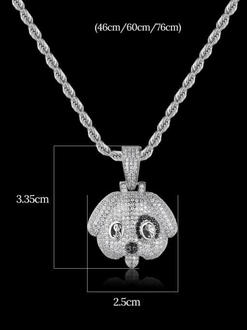 Teem Men Brass Cubic Zirconia Dog Hip Hop Necklace 1
