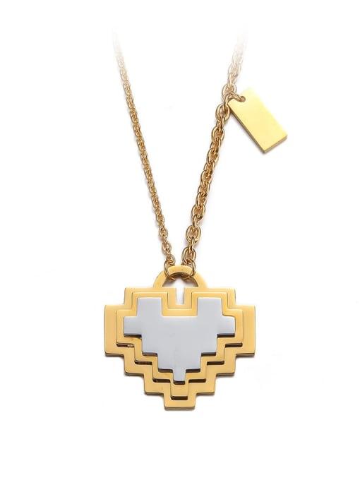 golden Titanium Steel Heart Minimalist Necklace