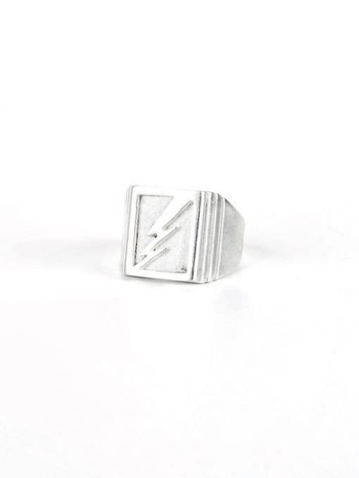 White Gold  (size 8) Titanium Steel Geometric Hip Hop Band Ring