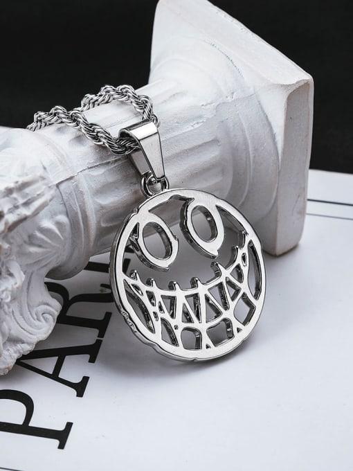 WOLF Titanium Steel Hip Hop Devil Smiley Long Strand Necklace 1