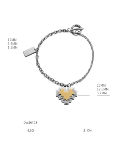 WOLF Titanium Steel Heart Hip Hop Link Bracelet 1